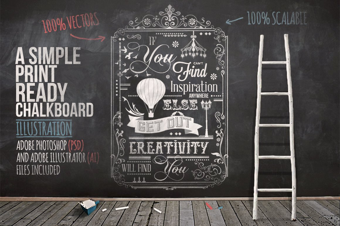 Typography Chalkboard Print 2 Illustrations Creative