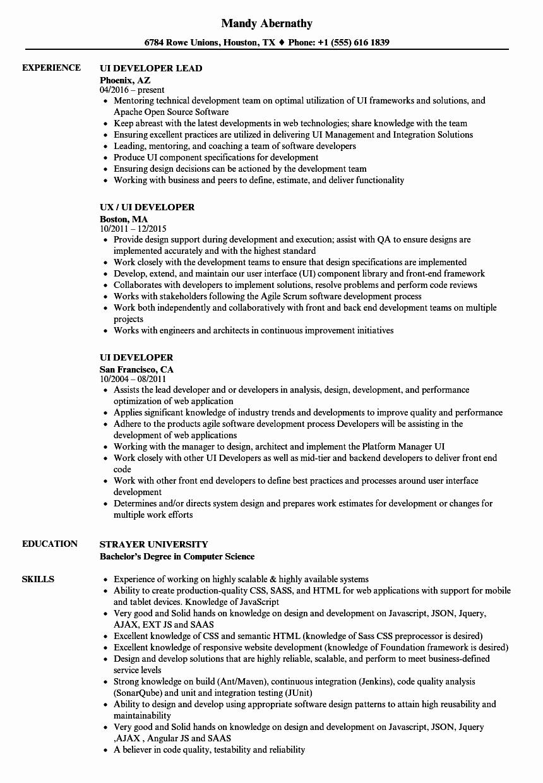 Ui Developer Resume Samples