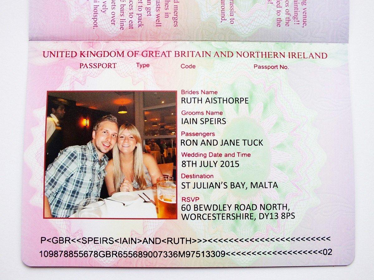 Uk Passport Wedding Invitations