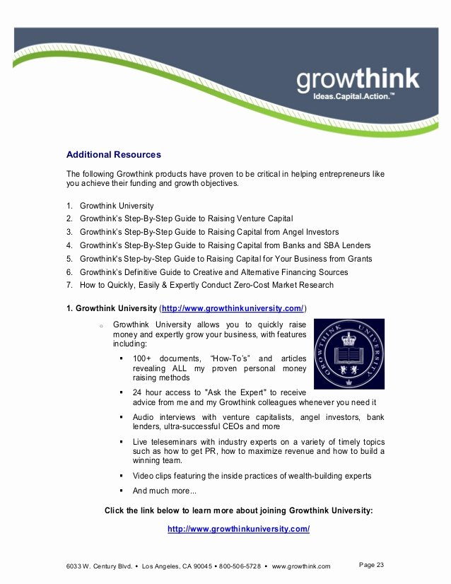 Ultimate Business Plan Template Growthink