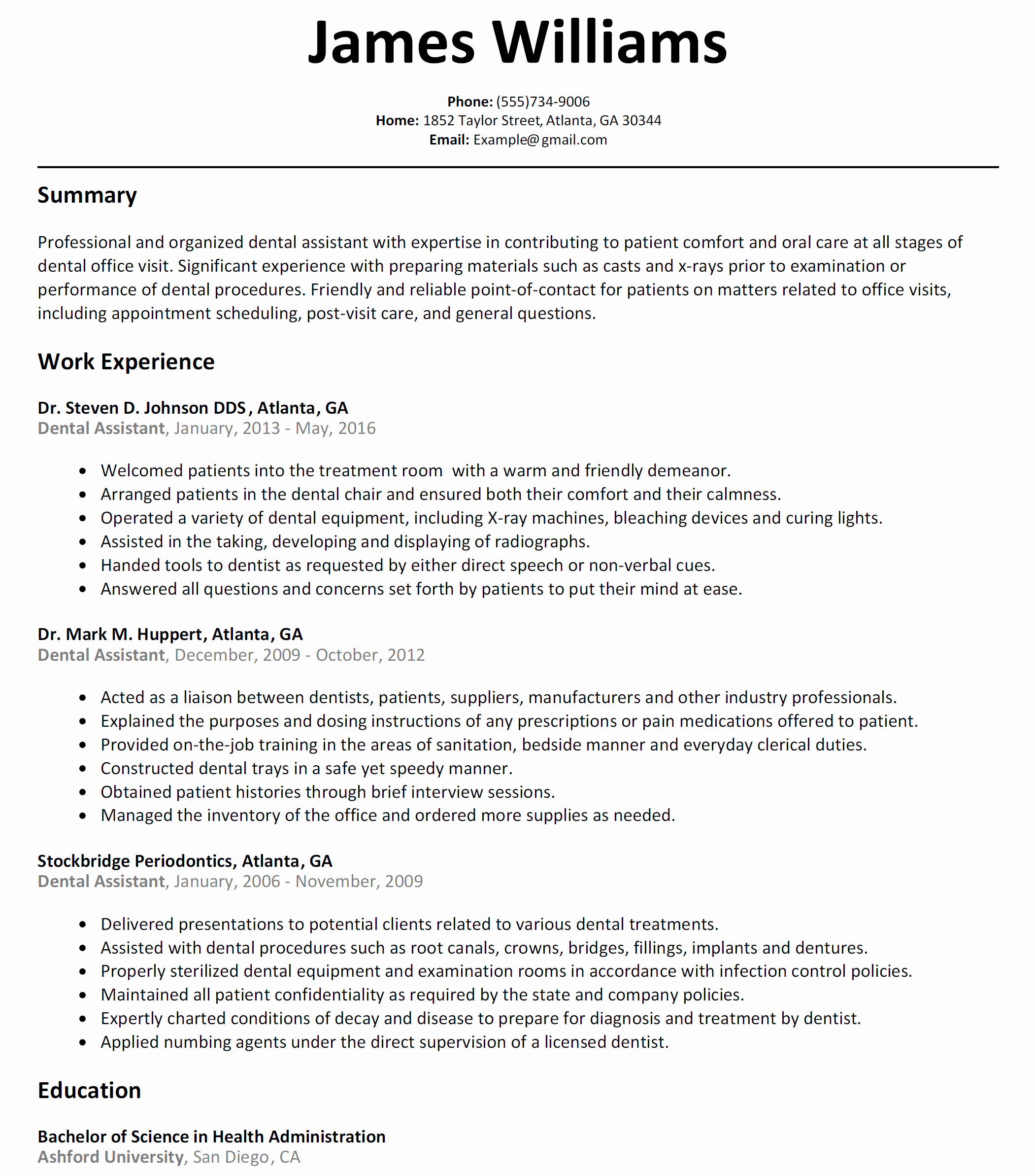 Ultimate Resume Examples for Dental assistant About Dental
