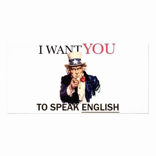 Uncle Sam Said I Want You to Speak English Greeting
