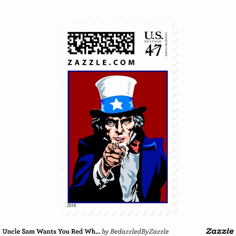 Uncle Sam Wants You Red White Blue Patriotic Postage Stamp