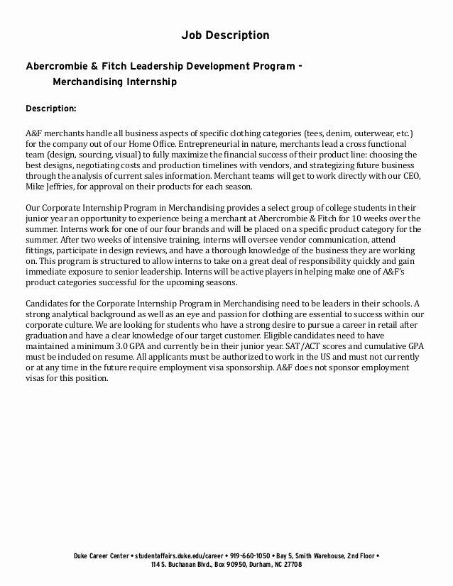 Undergraduate Student Cover Letter Example Abercrombie