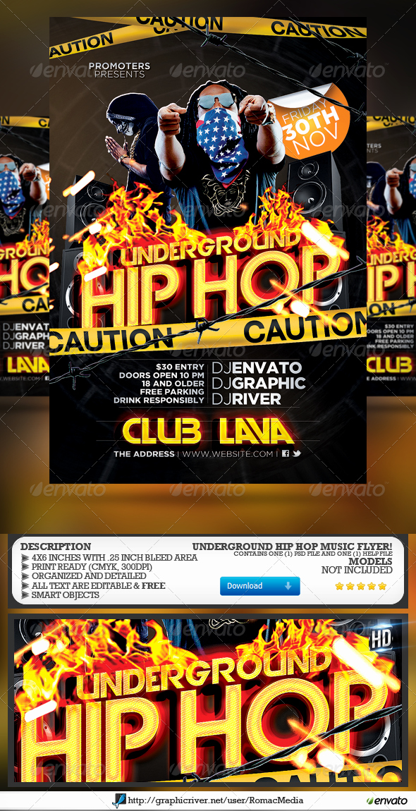 Underground Hip Hop Party Flyer by Romacmedia