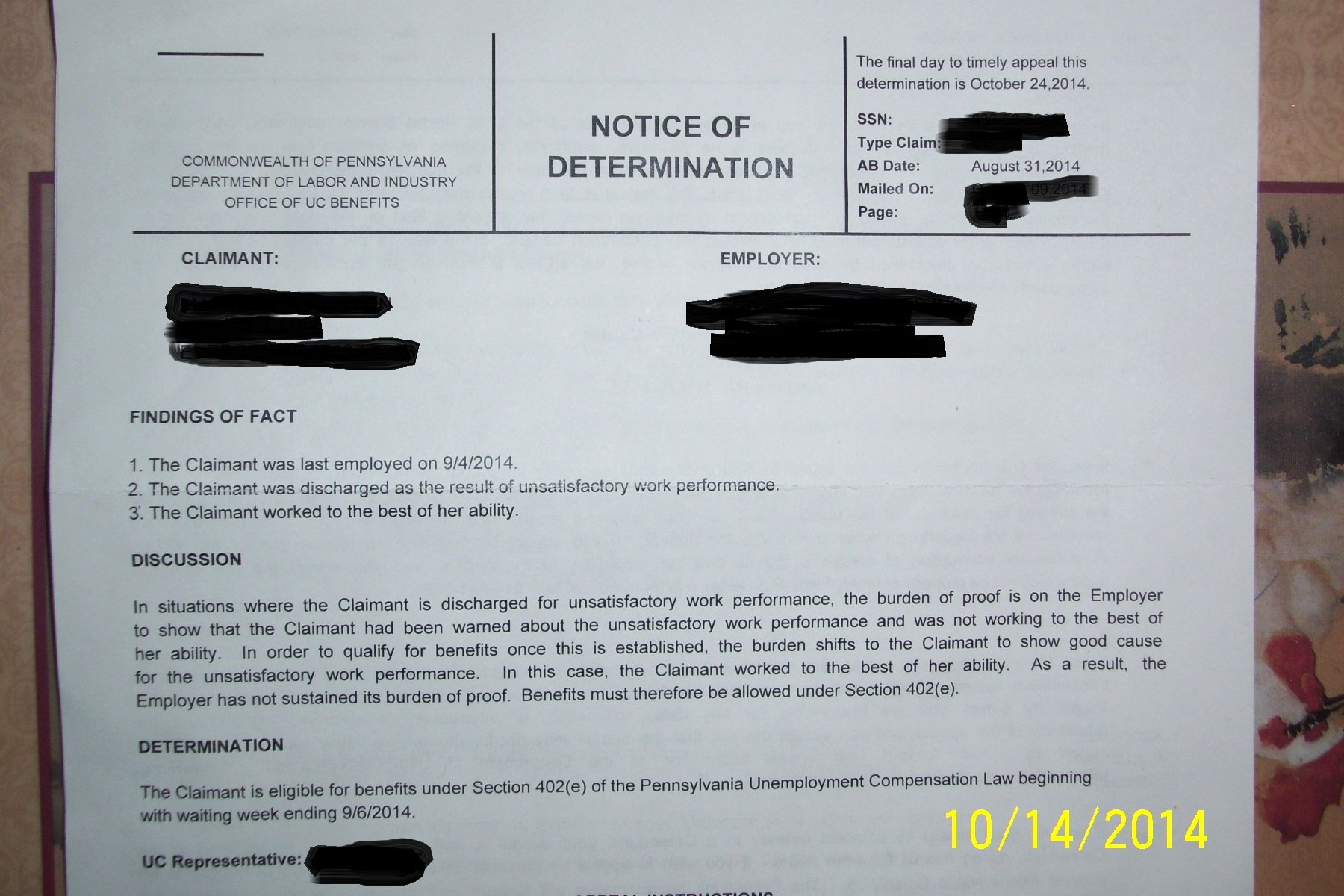 Unemployment Letter Sample Overpayment Appeal How File