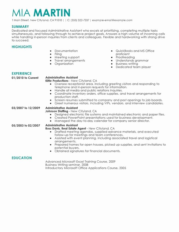 Unfor Table Administrative assistant Resume Examples to