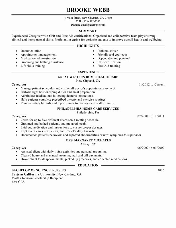 Unfor Table Caregiver Resume Examples to Stand Out