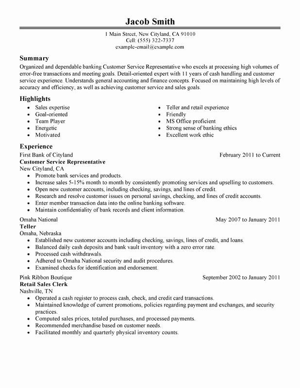 Unfor Table Customer Service Representative Resume