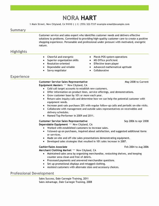 customer service representatives resume sample