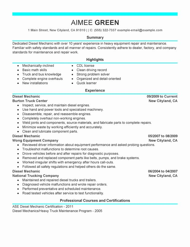 Unfor Table Diesel Mechanic Resume Examples to Stand Out