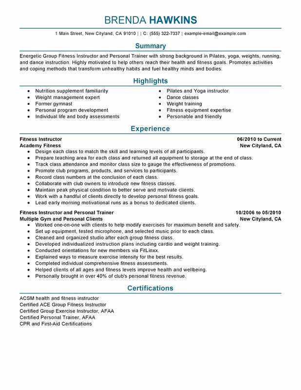 Unfor Table Fitness and Personal Trainer Resume Examples