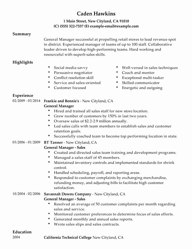 Unfor Table General Manager Resume Examples to Stand Out