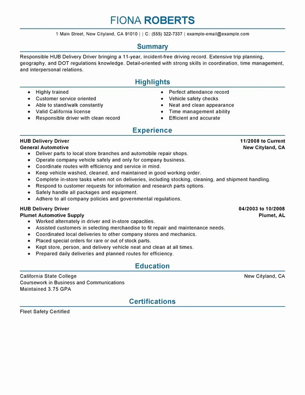Unfor Table Hub Delivery Driver Resume Examples to Stand