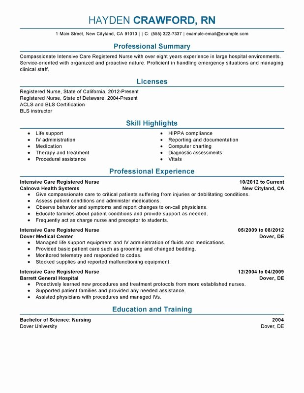 Unfor Table Intensive Care Nurse Resume Examples to