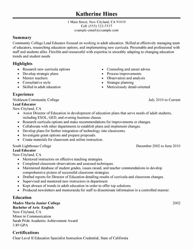 Unfor Table Lead Educator Resume Examples to Stand Out