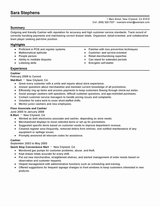 Unfor Table Part Time Cashiers Resume Examples to Stand