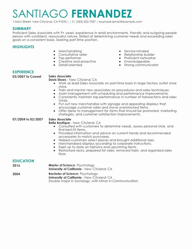 Unfor Table Part Time Sales associates Resume Examples