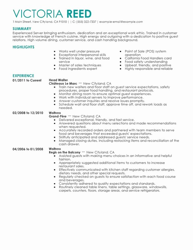 Unfor Table Restaurant Server Resume Examples to Stand