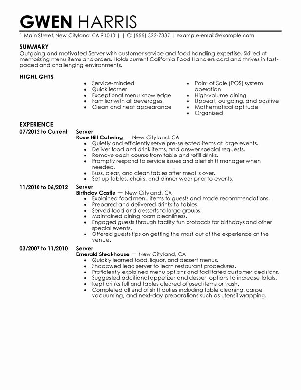 Unfor Table Server Resume Examples to Stand Out