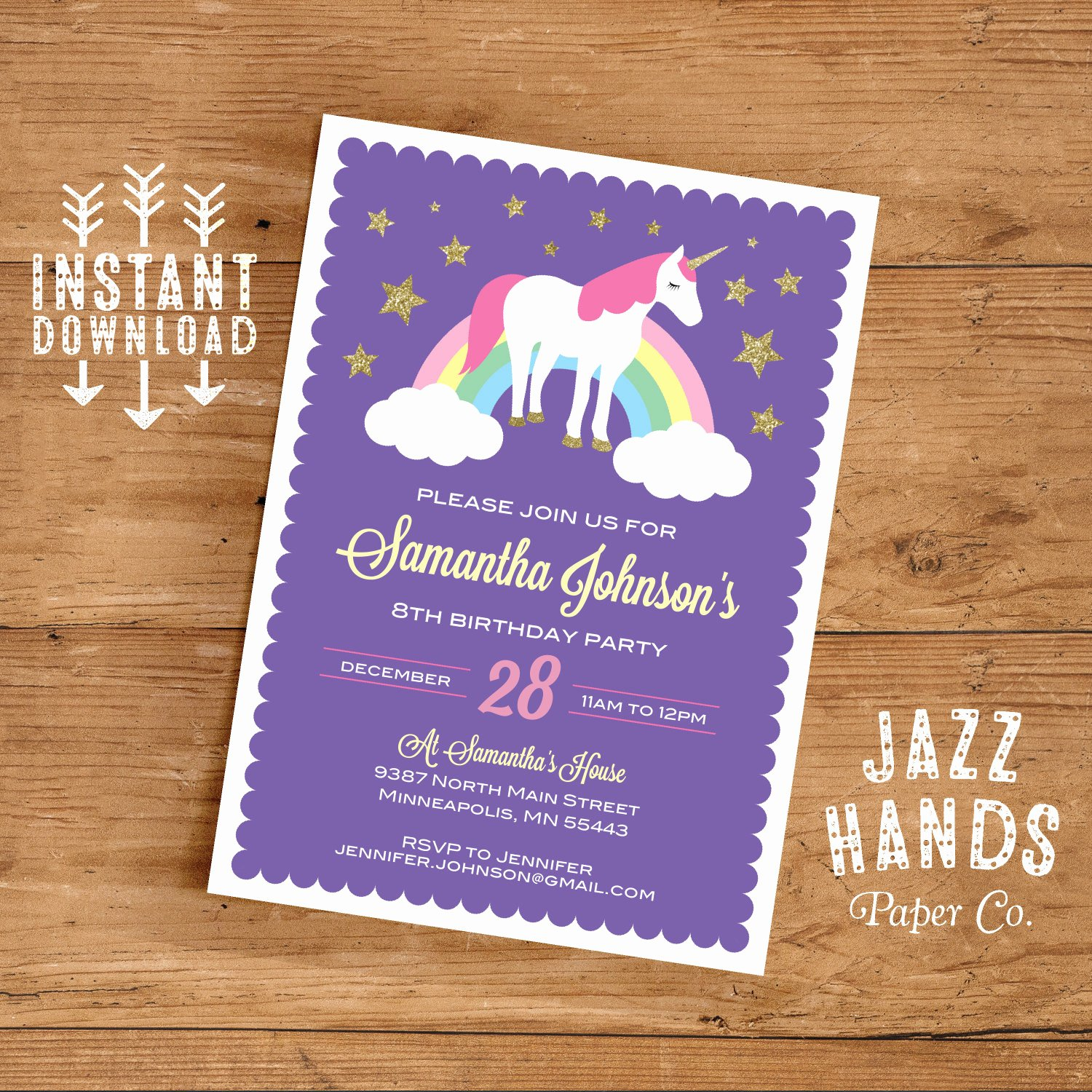 Unicorn Birthday Party Invitation Word Template First