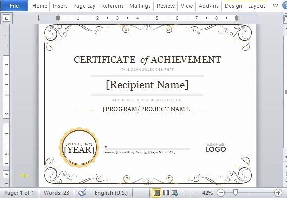 Unique Certificate Achievement Template Word
