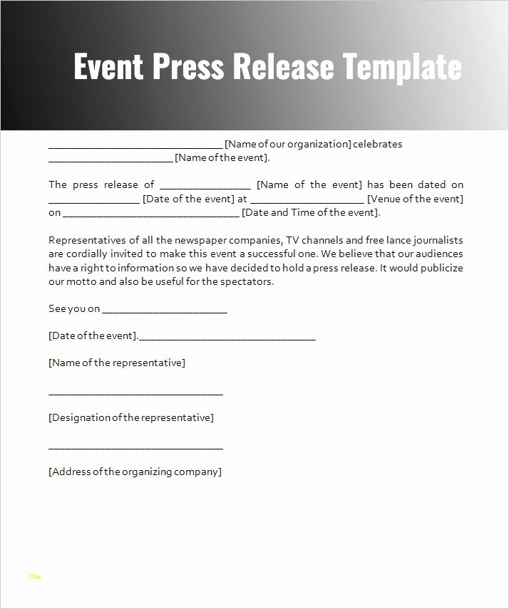 Unique event Press Release Template