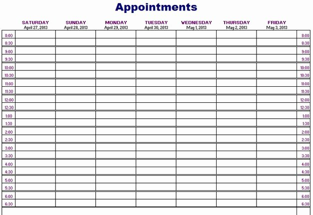 Unique Free Printable Weekly Appointment Calendar