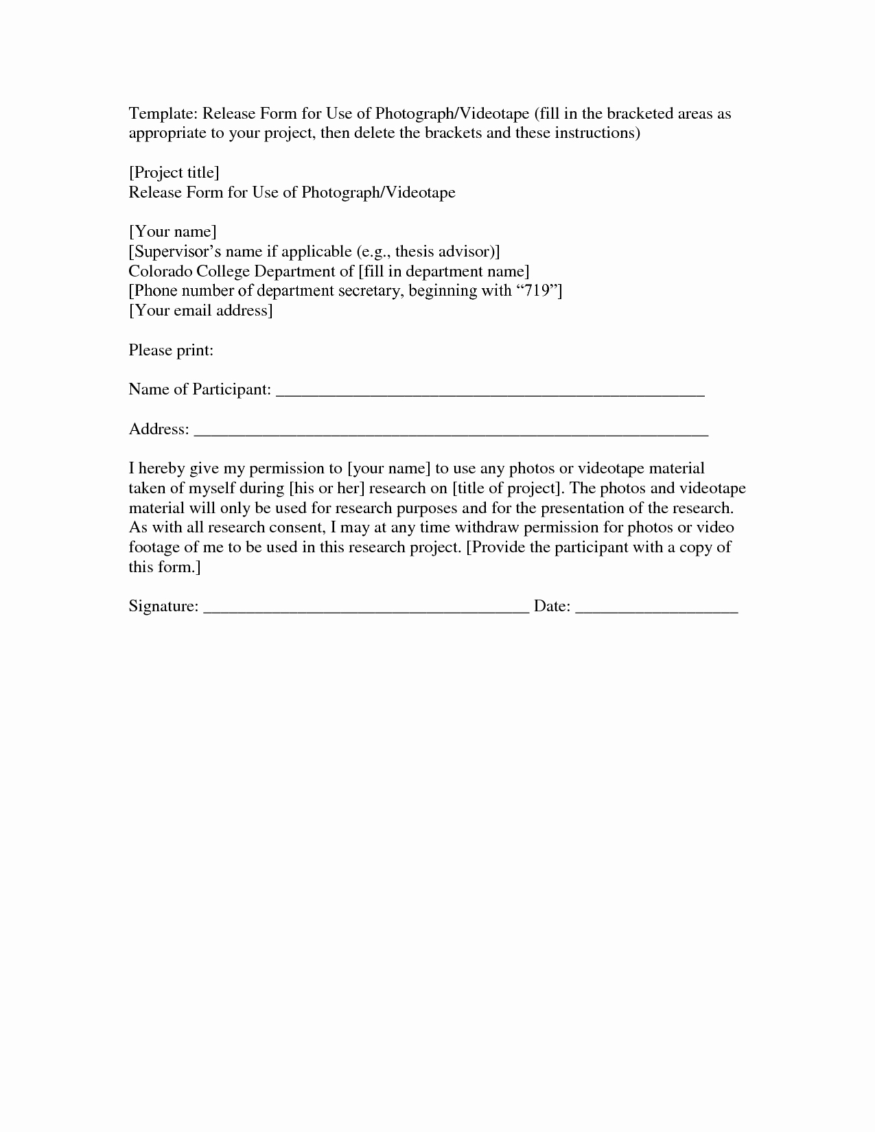 Unique Grapher Release form Consent Release form