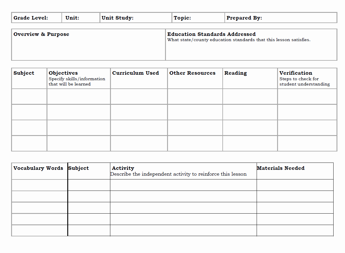 Unit Study Lesson Plan Template