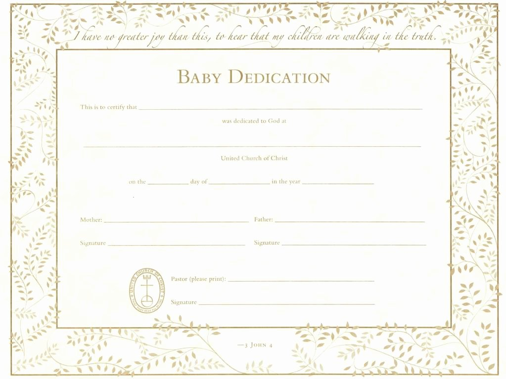 United Church Of Christ Baby Dedication Certificate