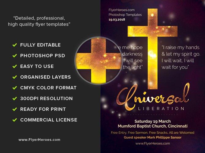 Universal Liberation Church Flyer Template Flyerheroes