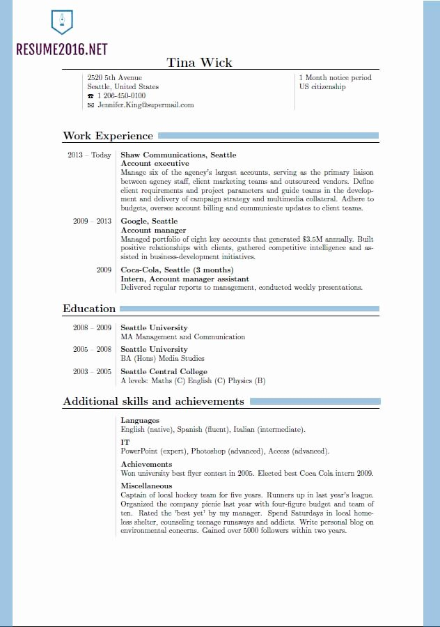 Updated Resume format 2016