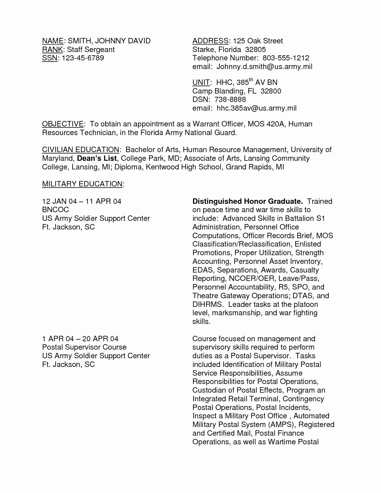 Us Army Address for Resume Us Army Address for Resume