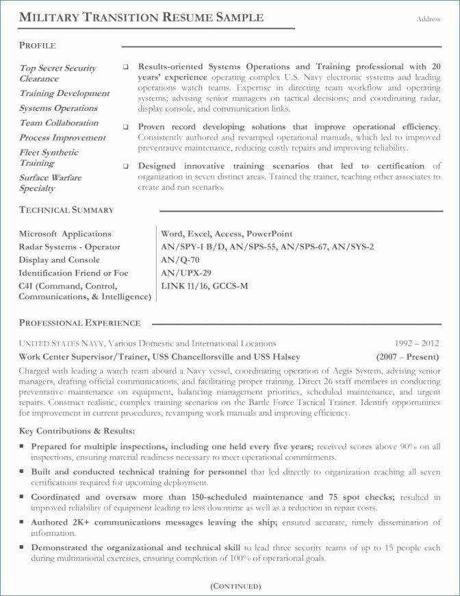 Us Navy Address for Resume Fresh Profile Resume Example