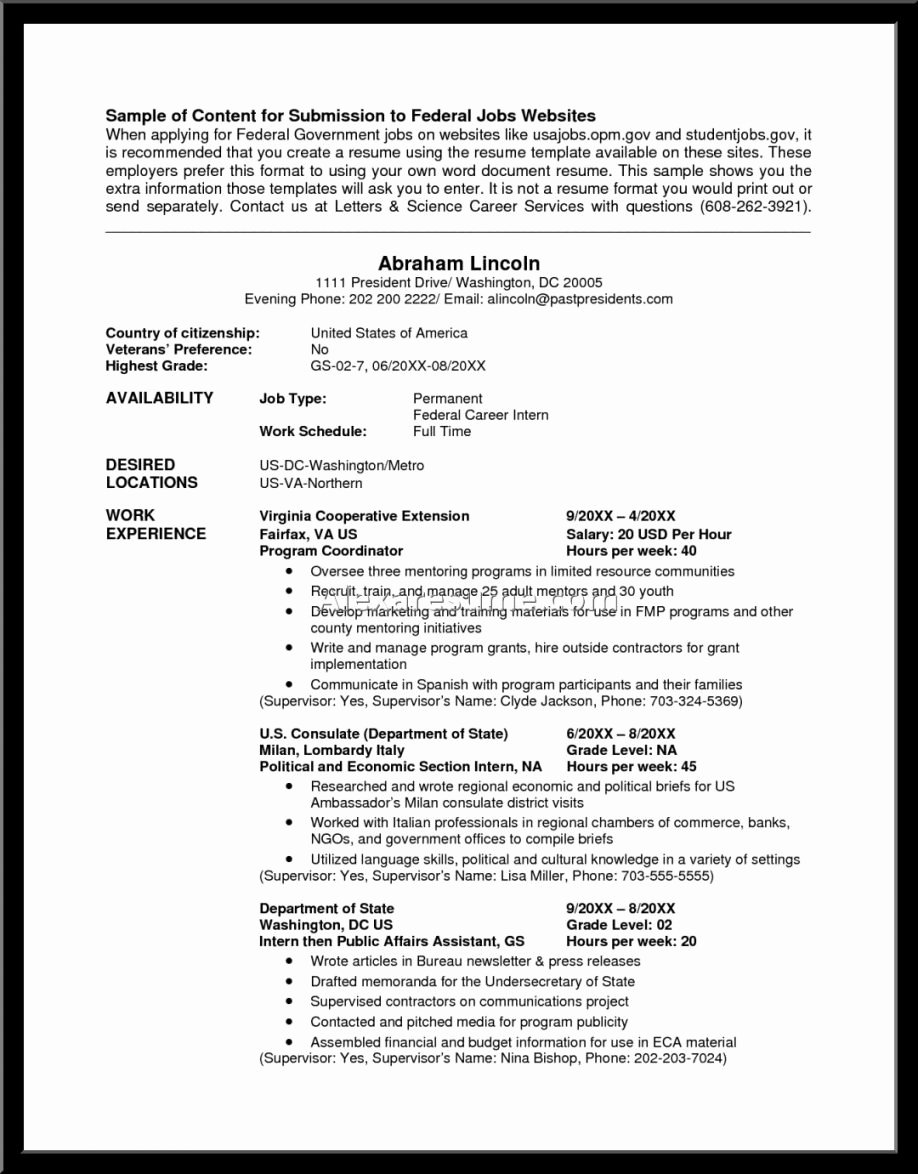 Usa Jobs Federal Resume Samples Best – Perfect Resume format
