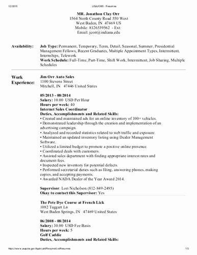 Usajobs Resume Builder Federal Resume