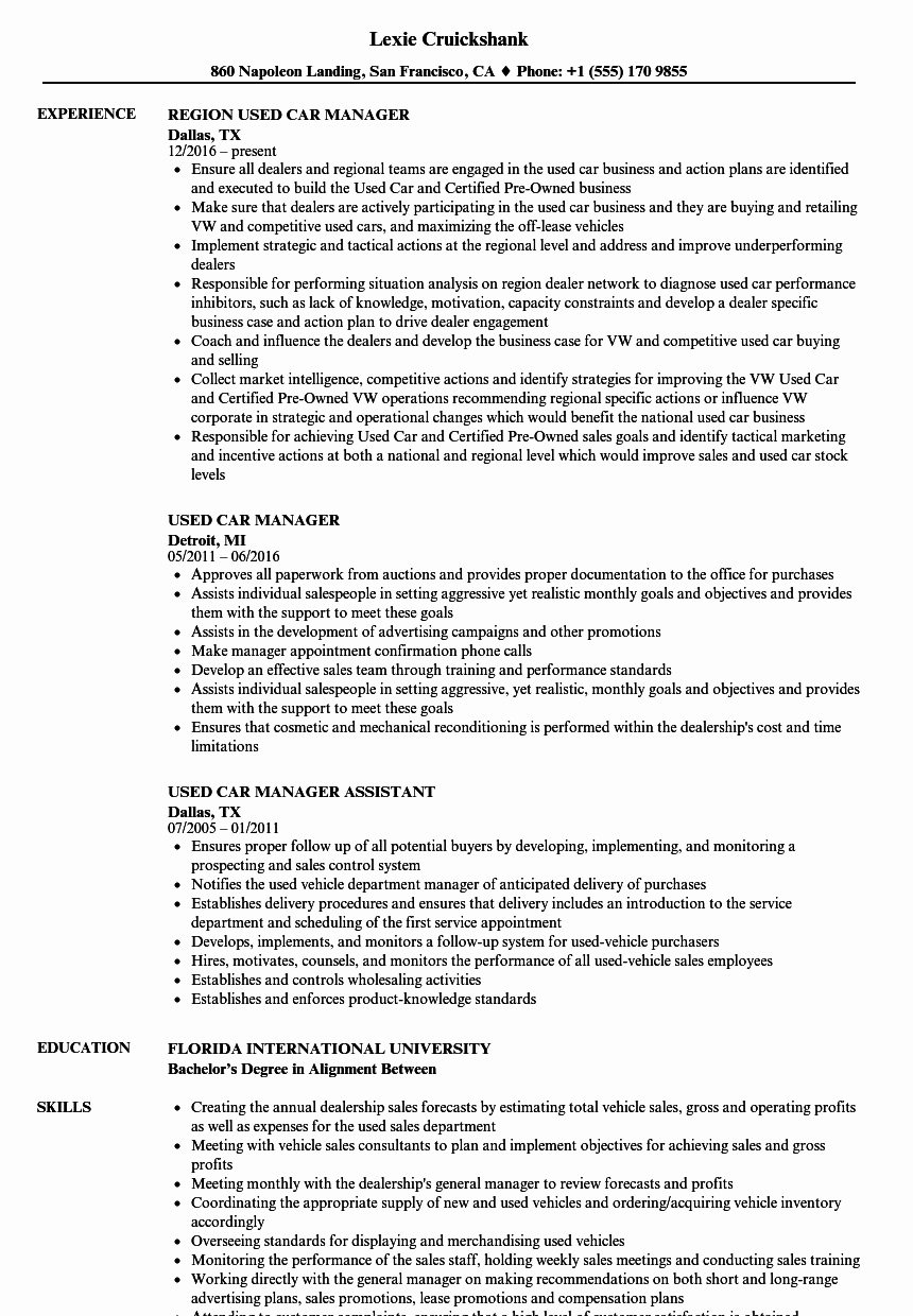Used Car Manager Resume Samples