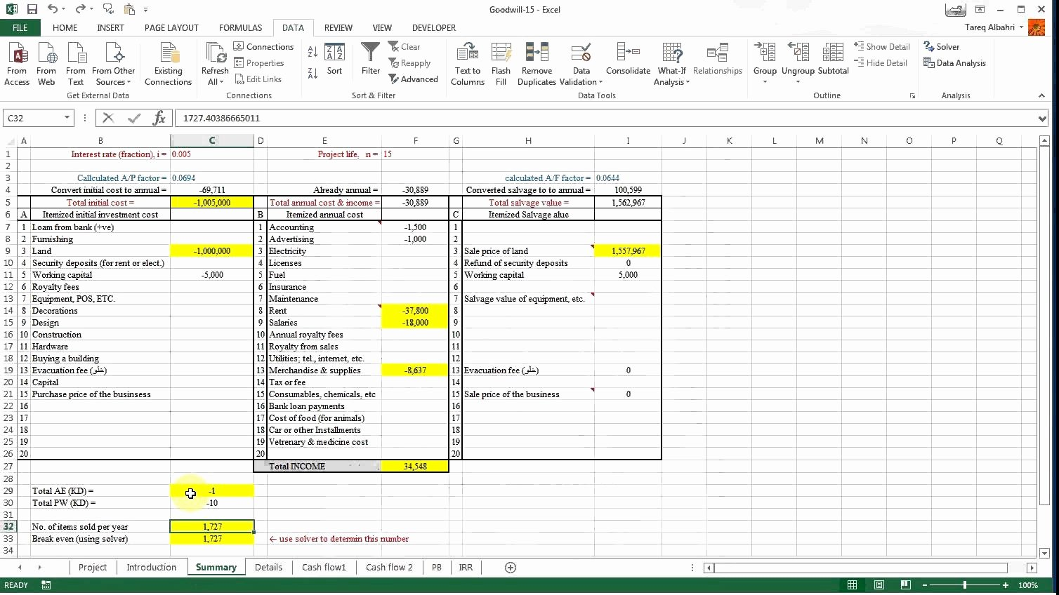 Using Excel solver to Find the Break even for A Project