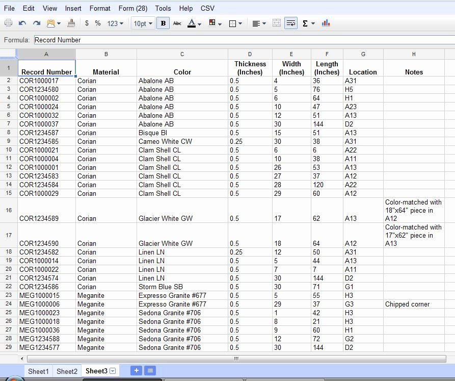 Using Google Documents Spreadsheets for Inventory Tracking