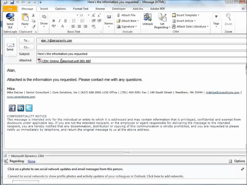 Using Templates In Crm Outlook Emails