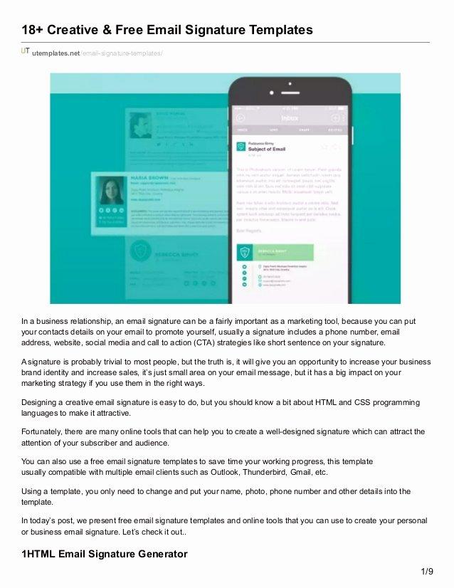 Utemplates Free Email Signature Templates