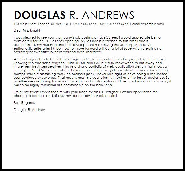 Ux Designer Cover Letter Sample