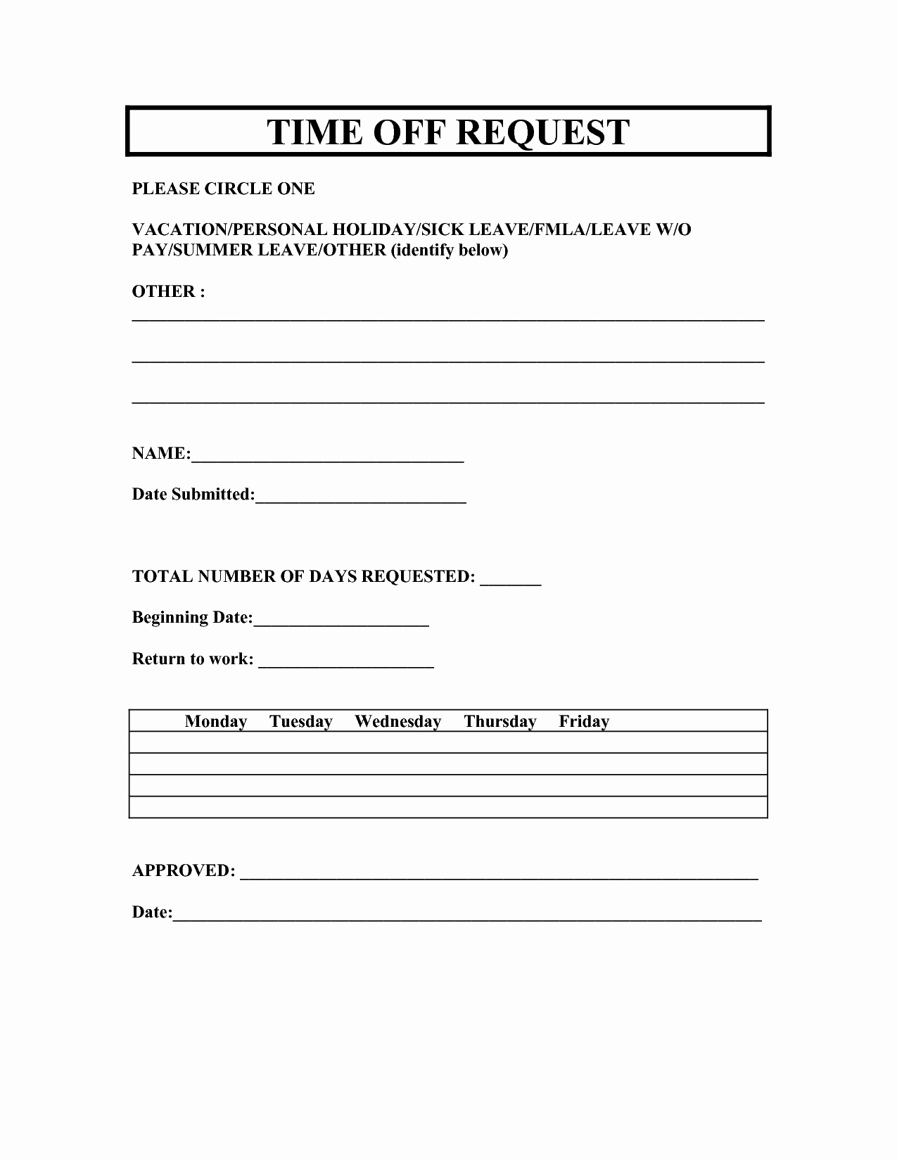 Vacation Request forms 2014 Free Printable
