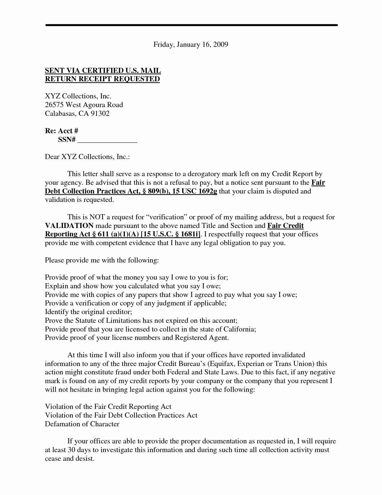Validation Debt Letter