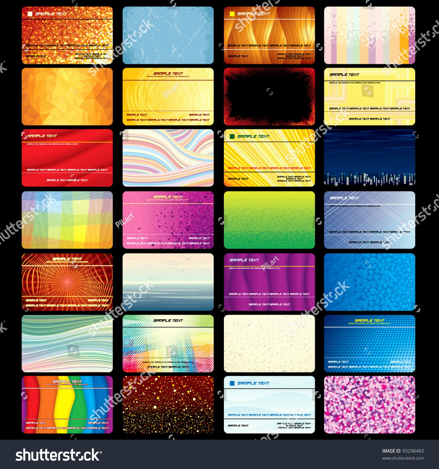 Various Business Card Credit Card Blank Stock Vector