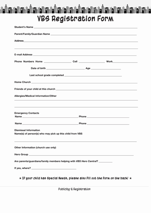 Vbs Registration form Printable Pdf