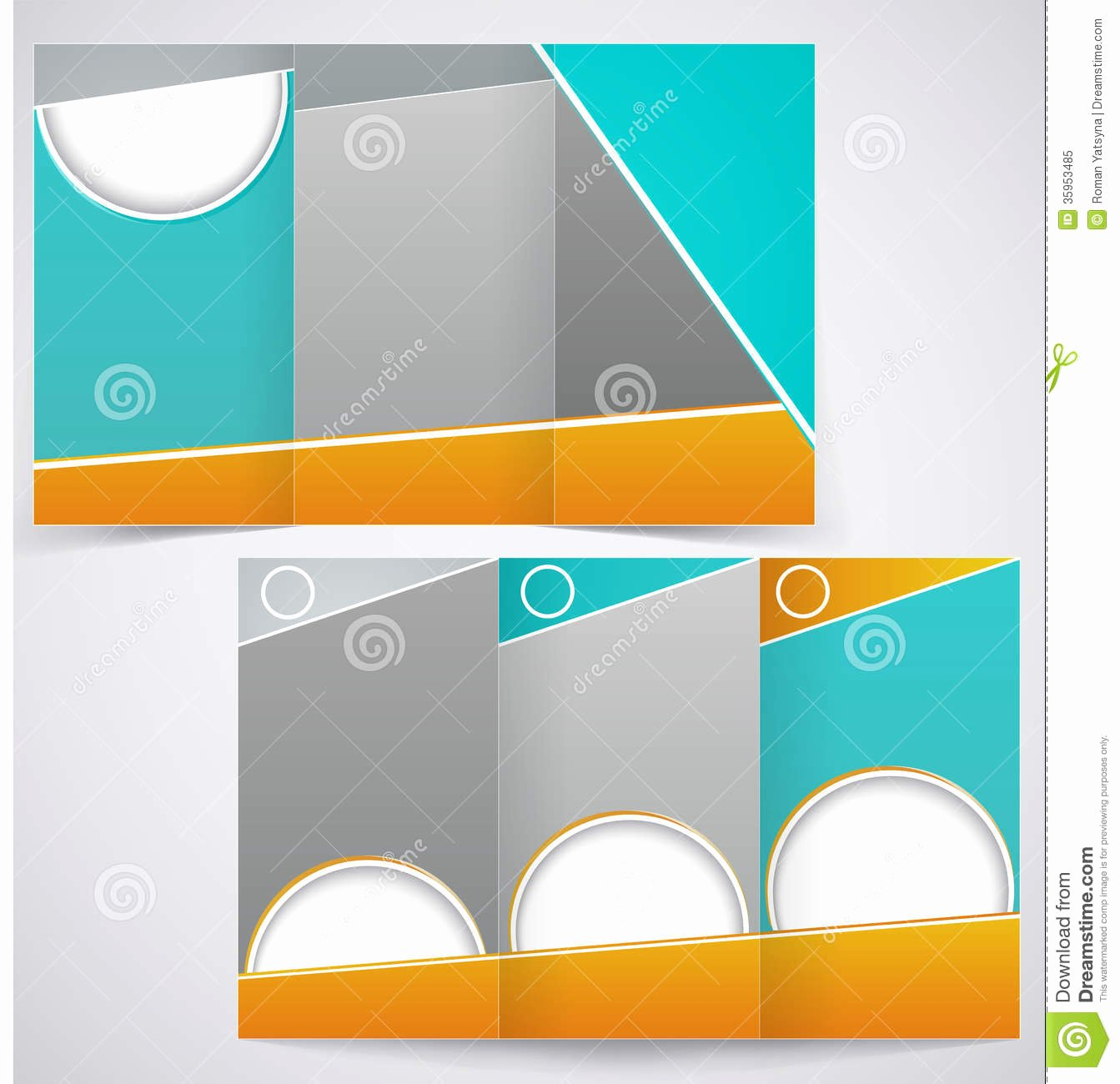Vector Brochure Layout Design with Green and Yello Stock