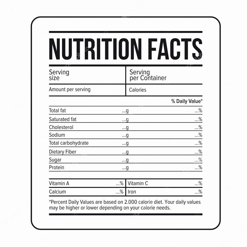 Vector De Plantilla De Etiqueta De Datos De Nutrición