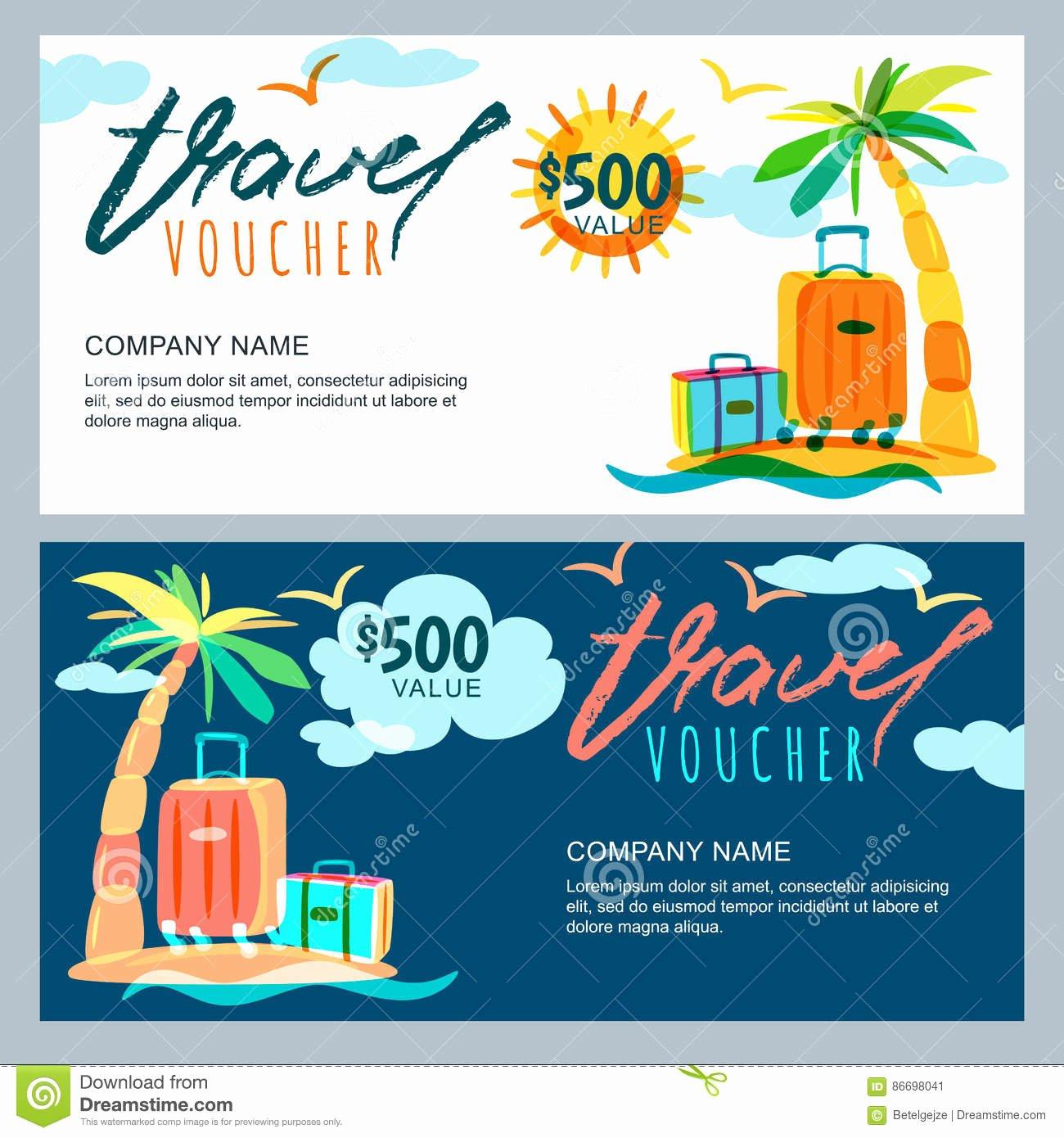Vector Gift Travel Voucher Template Tropical island